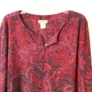 TravelSmith Split Neck Shirt Red Maroon Size 1x
